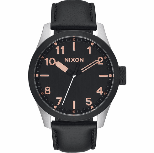 (Sale!!!) Nixon Safari Leather Watch<br>Black/Rose Gold