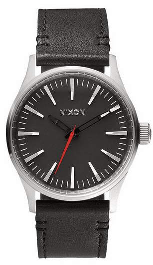 (Sale!!!) Nixon Sentry 38 Leather Watch<br>Black