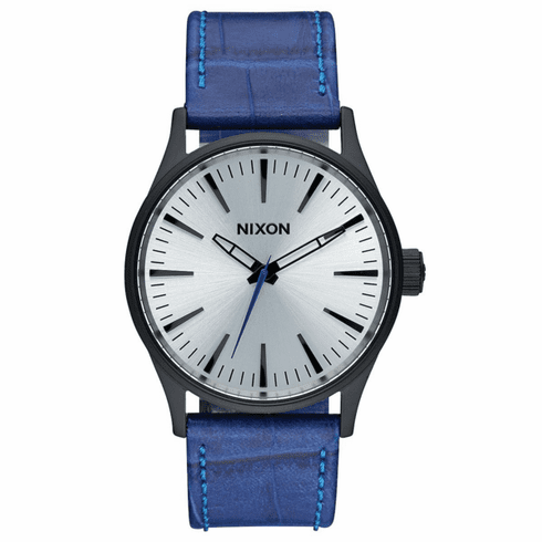 (Sale!!!) Nixon Sentry 38 Leather Watch<br>Black/Blue Gator