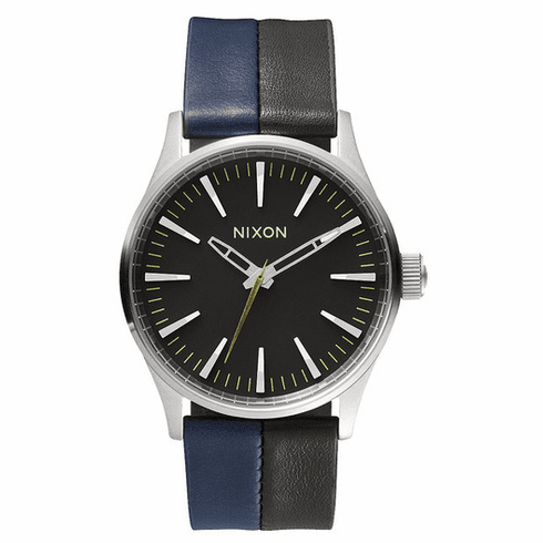 (Sale!!!) Nixon Sentry 38 Leather Watch<br>Black/Navy/Black