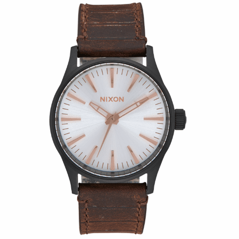 (Sale!!!) Nixon Sentry 38 Leather Watch<br>Black/Silver/Brown