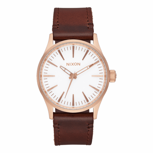 (SALE!!!) Nixon Sentry 38 Leather Watch<br>Rose Gold/White