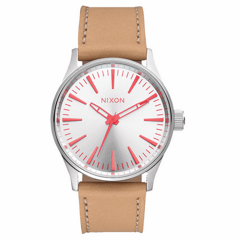 (Sale!!!) Nixon Sentry 38 Leather Watch<br>Silver/Bright Coral/Natural