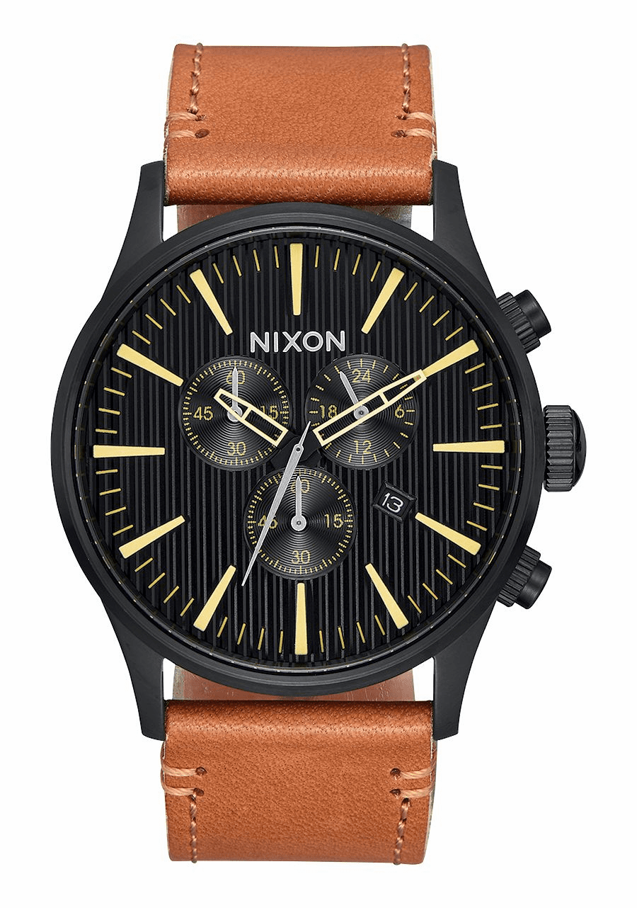 (Sale!!!) Nixon Sentry Chrono Leather Watch<br>Black/Stamped/Brown