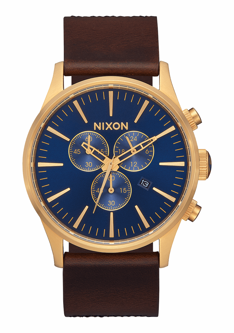 (SALE!!!) Nixon Sentry Chrono Leather Watch<br>Navy/Brown/Black Gator