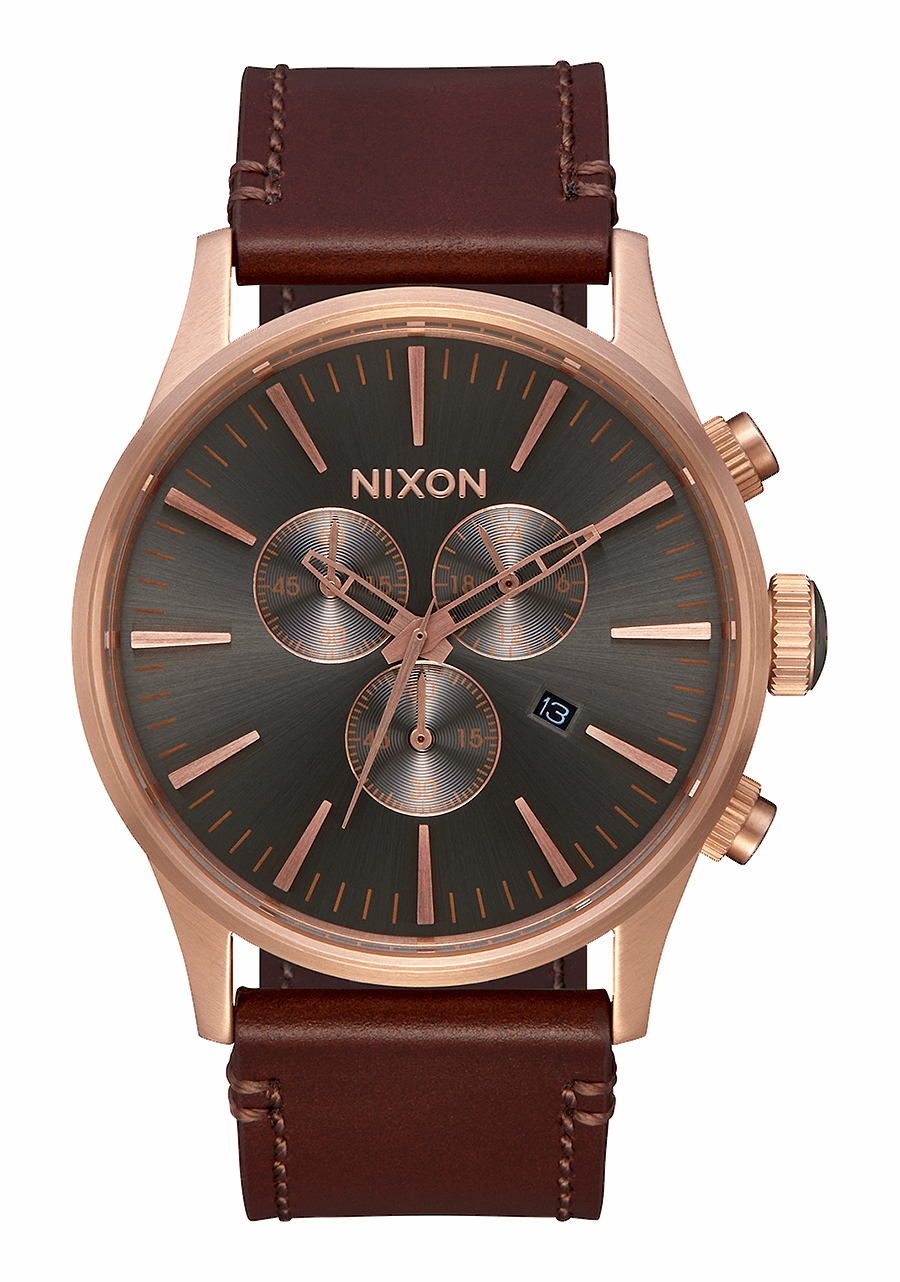 (SALE!!!) Nixon Sentry Chrono Leather Watch<br>Rose Gold/Gunmetal/Brown