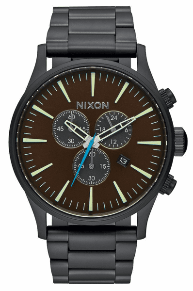 (Sale!!!) Nixon Sentry Chrono Watch<br>All Black/Brass/Brown