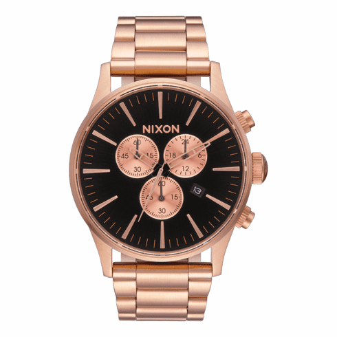 (SALE!!!) Nixon Sentry Chrono Watch<br>All Rose Gold/Black