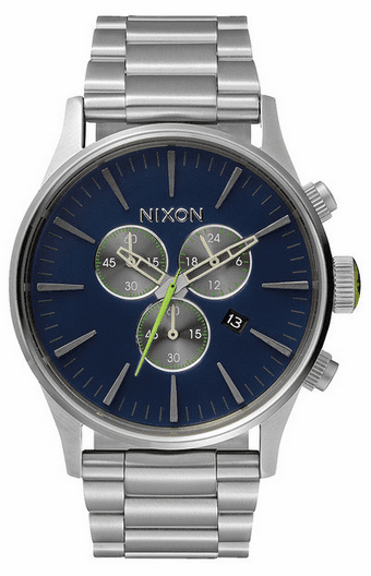 (Sale!!!) Nixon Sentry Chrono Watch<br>Midnight Blue/Volt Green