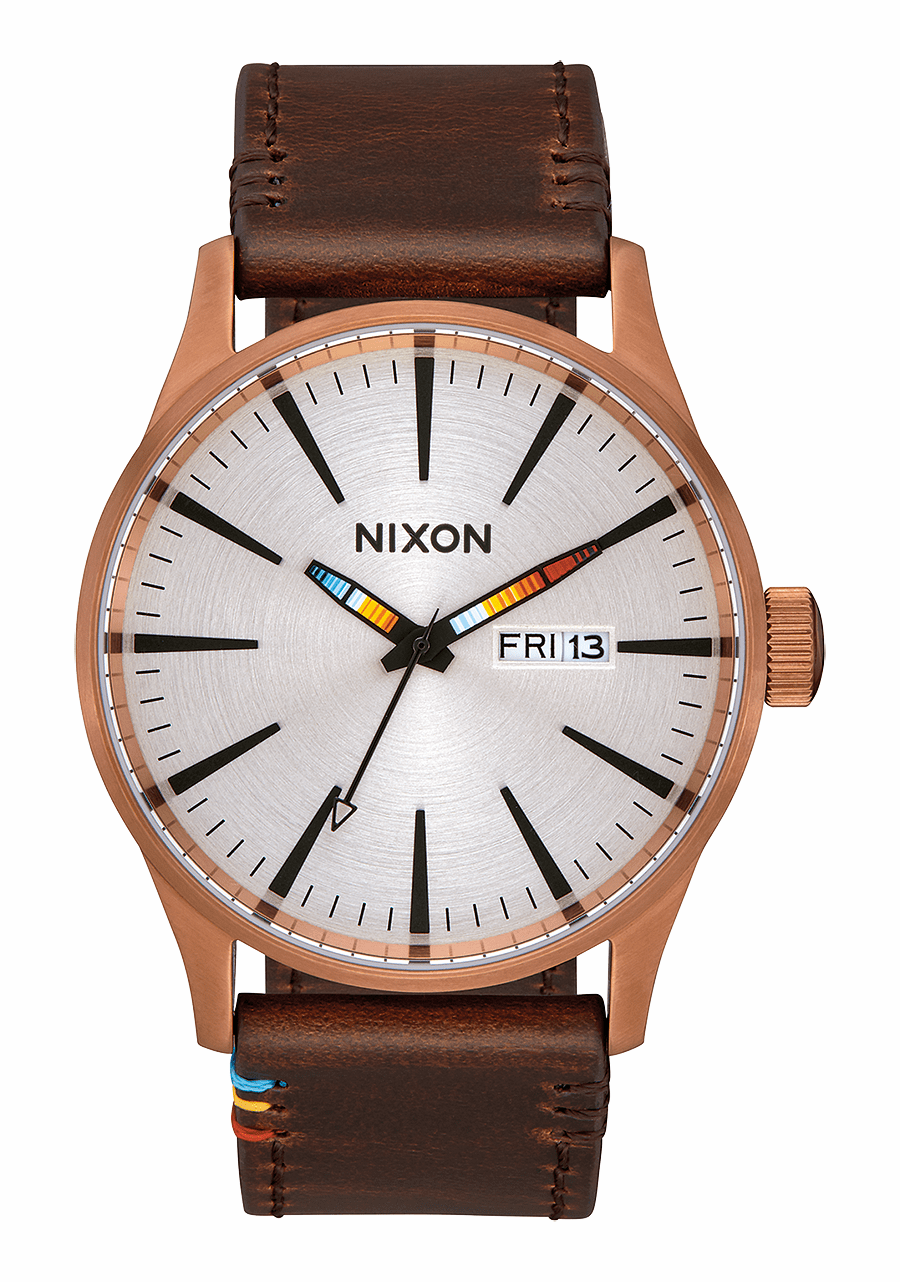 (SALE!!!) Nixon Sentry Leather Watch<br>Copper/Brown/Serape