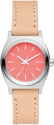 (Sale!!!) Nixon Small Time Teller Leather Watch<br>Bright Coral/Natural