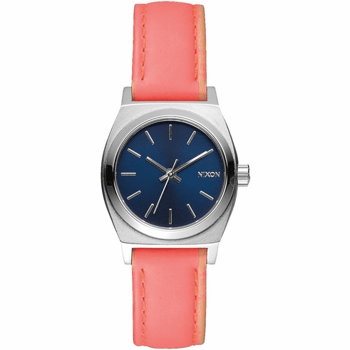 (Sale!!!) Nixon Small Time Teller Leather Watch<br>Navy/Bright Coral