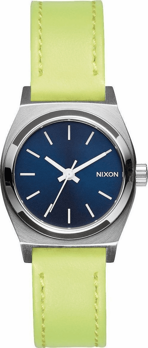 (Sale!!!) Nixon Small Time Teller Leather Watch<br>Navy/Neon Yellow