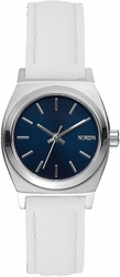 (Sale!!!) Nixon Small Time Teller Leather Watch<br>Navy/White
