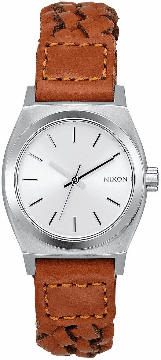 (Sale!!!) Nixon Small Time Teller Leather Watch<br>Saddle/Woven