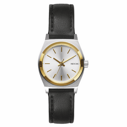 (Sale!!!) Nixon Small Time Teller Leather Watch<br>Silver/Gold/Black