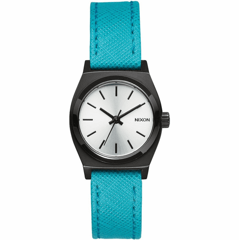 (Sale!!!) Nixon Small Time Teller Leather Watch<br>Silver/Turquoise