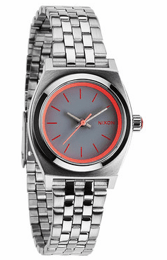 (Sale!!!) Nixon Small Time Teller Watch<br>Silver/Neon Pink