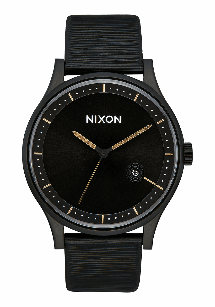 (SALE!!!) Nixon Station Leather Watch<br>All Black/Gold/White