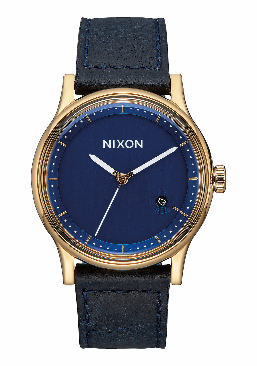 (SALE!!!) Nixon Station Leather Watch<br>Gold/Navy