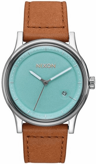 (SALE!!!) Nixon Station Leather Watch<br>Seafoam/Light Brown