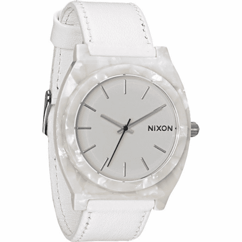 (Sale!!!) Nixon Time Teller Acetate Leather Watch<br>White Granite