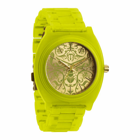 (Sale!!!) Nixon Time Teller Acetate Watch<br>Neon Yellow/Beetlepoint