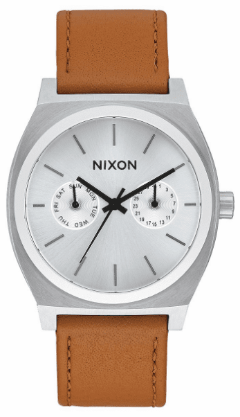 (Sale!!!) Nixon Time Teller Deluxe Leather Watch<br>Silver Sunray/Saddle
