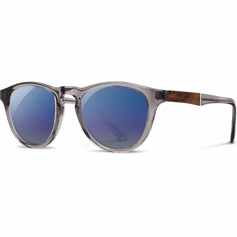 Shwood Francis Sunglasses<br>Smoke/Elm Burl/Blue Flash Polarized