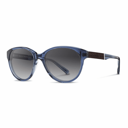 Shwood Madison Sunglasses<br>Blue Crystal/Ebony/Grey Fade Polarized