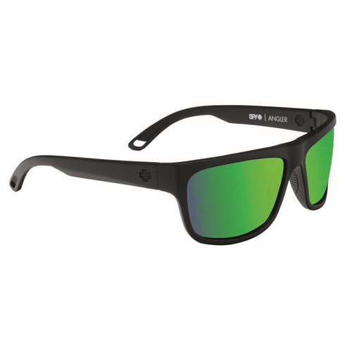 (Sale!!!) Spy Angler Sunglasses<br>Matte Black/Happy Bronze Polarized w/Green Spectra