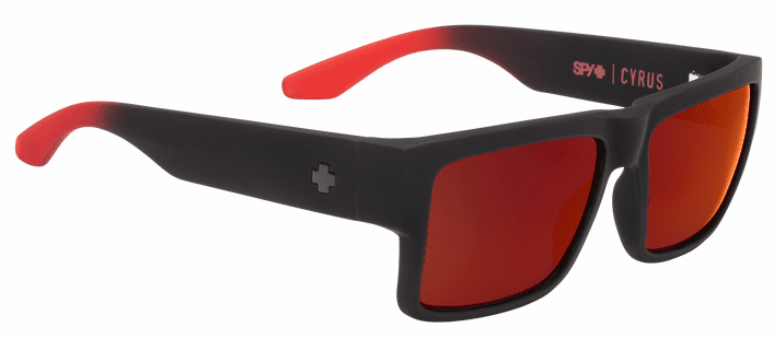 Spy Cyrus Sunglasses<br>Soft Matte Black Red Fade/Happy Gray Green w/Red Flash