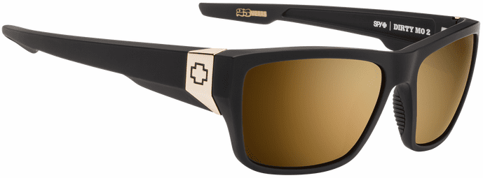 Spy Dirty Mo 2 Sunglasses<br>25th Anniversary<br>Matte Black Gold/HD Plus Bronze W/ Gold Spectra Mirror