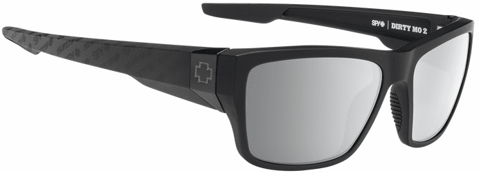 Spy Dirty Mo 2 Sunglasses<br>Matte Black Logo Fade/HD Plus Gray Green W/ Silver Spectra Mirror
