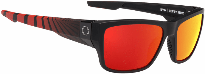 Spy Dirty Mo 2 Sunglasses<br>Matte Black Red Burst/HD Plus Rose Polar W/ Red Spectra Mirror