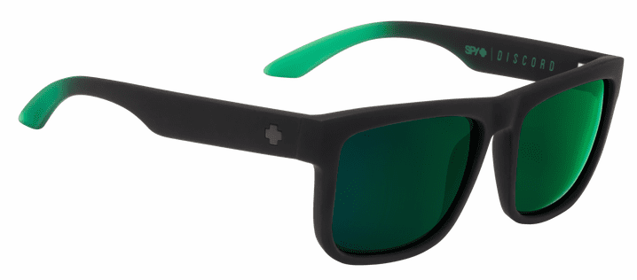 Spy Discord Sunglasses<br>Soft Matte Black Green Fade/Happy Grey Green w/Green Flash
