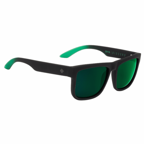 Spy Discord Sunglasses<br>Soft Matte Black Green Fade/HD Plus Grey Green w/Green Flash