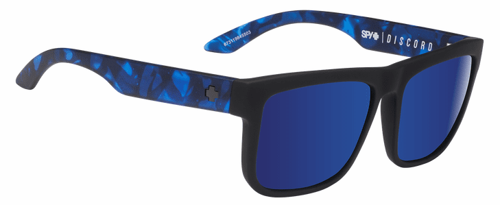 Spy Discord Sunglasses<br>Soft Matte Black Navy Tort/Happy Gray Green w/Dark Blue Spectra