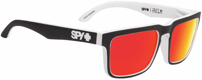 Spy Helm Sunglasses<br>Whitewall/HD Plus Gray Green w/Red Spectra Mirror