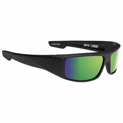 Spy Logan Sunglasses<br>Matte Black/Happy Bronze Polarized w/Green Spectra