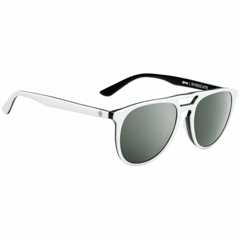 Spy Syndicate Sunglasses<br>Matte White-Black/Happy Gray Green W/ Silver Spectra Mirror