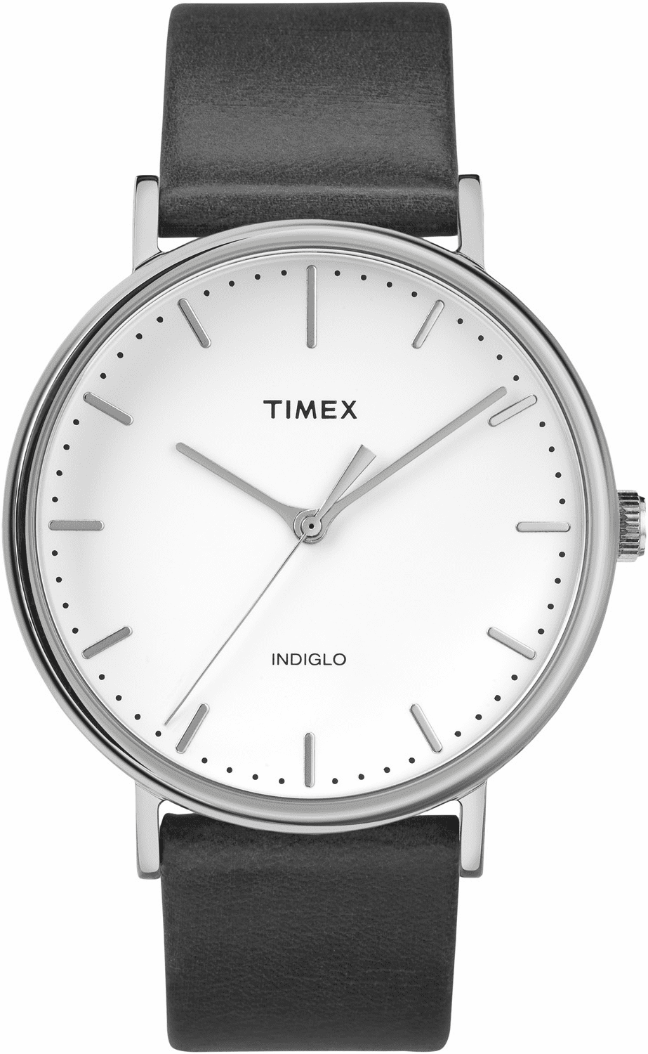 Timex Fairfield Leather Watch<br>Chrome/Black/White
