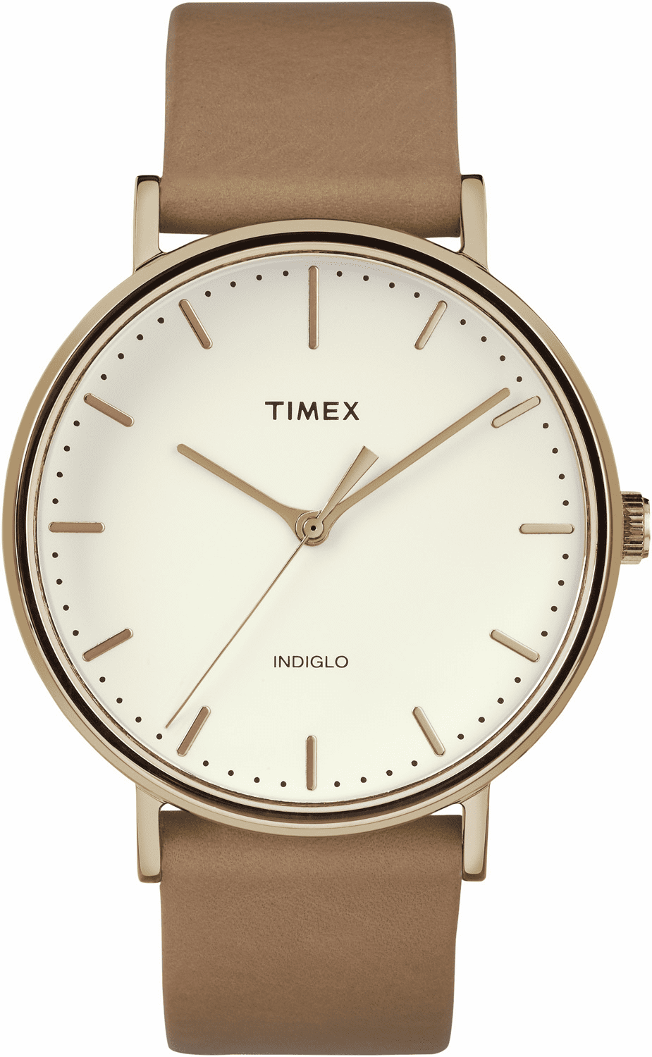 Timex Fairfield Leather Watch<br>Rose Gold/Tan/natural