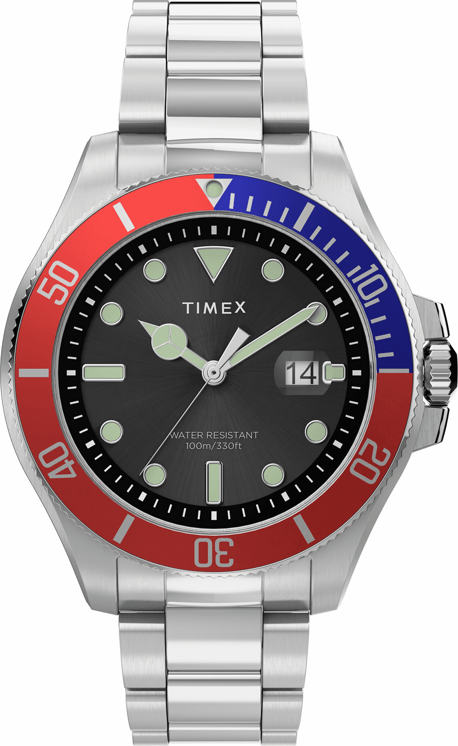 Timex Harborside Coast Watch<br>Silver/Navy/Red