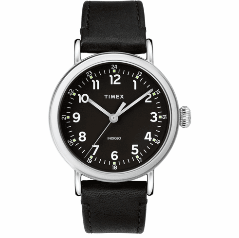 Timex Standard 40mm Leather Strap Watch<br>Silver/Black