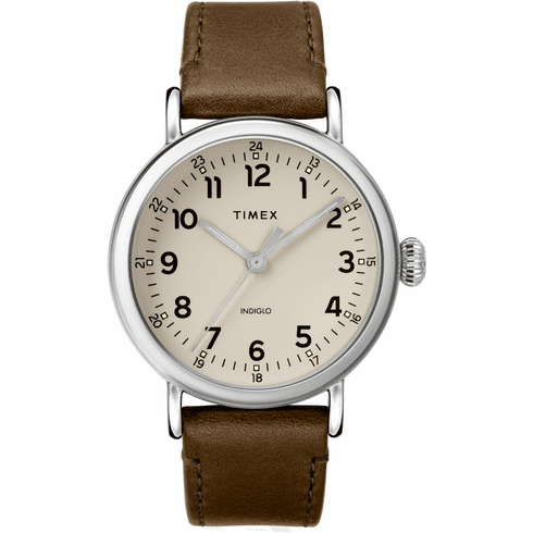 Timex Standard 40mm Leather Strap Watch<br>Silver/Green/Gray