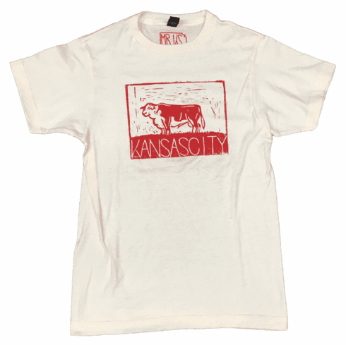 Unisex Bunker x Mister Kansas Collab<br> Hereford Cream & Red Tee