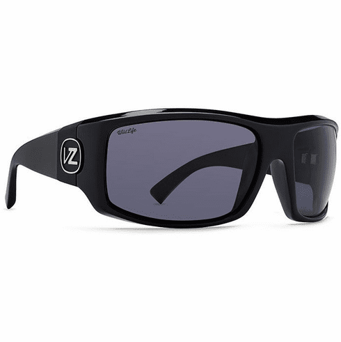 VonZipper Clutch Sunglasses<BR>Black Gloss/Wild Vintage Grey Polar