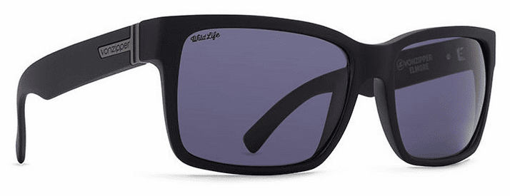 VonZipper Elmore Sunglasses<br>Black Satin/Vintage Grey Polarized
