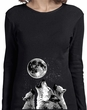Wolves Howling at The Moon Bottom Print Ladies Long Sleeve Shirt